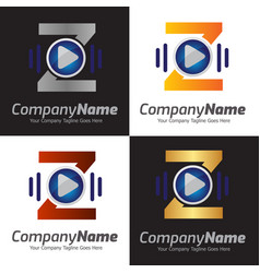 3d media play logo design audio music vector