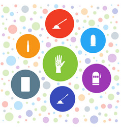 7 arm icons vector