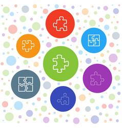 7 puzzle icons vector