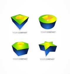 Abstract 3d logo shapes icon company vector image