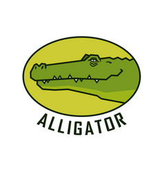 Alligator head happy crocodile face emblem vector