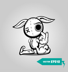 angry sewn voodoo bunny finger gesture ok vector image