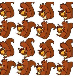 Autumn squirrel acorn natural seamless pattern vector