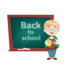 Back to school cute schoolboy vector
