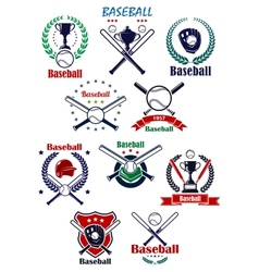 Baseball heraldic emblems or badges with vector image