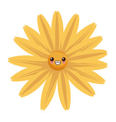 beautiful flower kawaii cartoon vector image