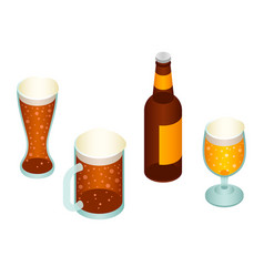 Beer icon set isometric style vector