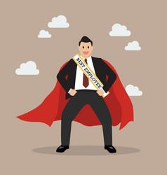 Best employee businessman superhero vector