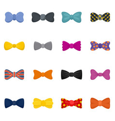 Bowtie ribbon man tuxedo icons set flat style vector