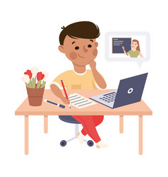Boy studying from home via teleconference using vector