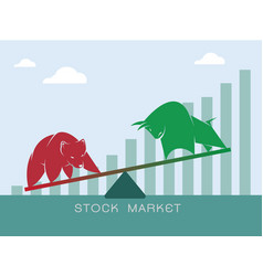 bull and bear symbols of stock market trends the vector image