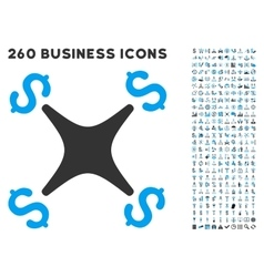 Business Drone Icon with Flat Set vector