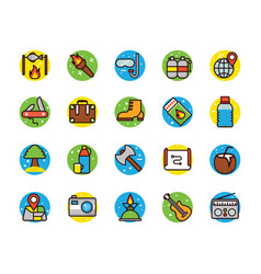 Camping and beach icons vector