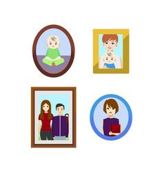 cartoon family photos in frames set vector image