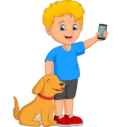 cartoon little boy holding a mobile phone with his vector image
