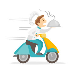 Caucasian white man delivering dish on scooter vector