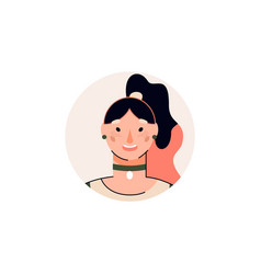 Circle badge or avatar with young woman character vector