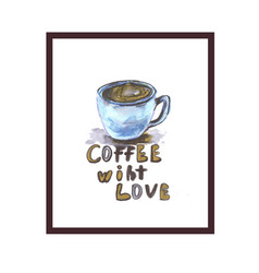 Coffee love logo with hearth shape vector
