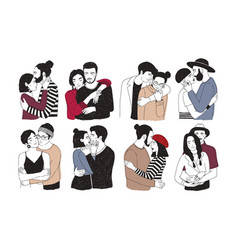 Collection romantic couples isolated on white vector