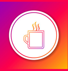 Color line coffee cup flat icon isolated on color vector