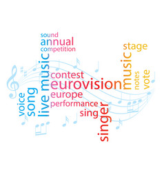 Color word collage - eurovision song contest vector