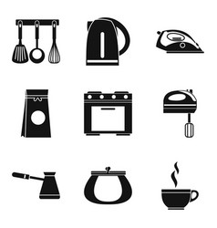 Cookware icons set simple style vector
