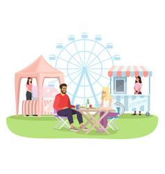 Couple at summer fun fair outdoor cafe flat vector