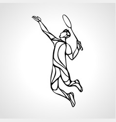 Creative silhouette abstract badminton player vector