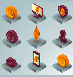 cryptocurrency color gradient isometric icons vector image