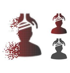 Decomposed pixelated halftone psychiatry patient vector