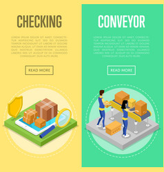 delivery checking and warehouse conveyor set vector image