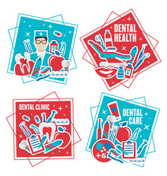 Dental health clinic and mouth hygiene tools icons vector