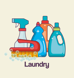 Detergents and brush tools laundry and cleaning vector