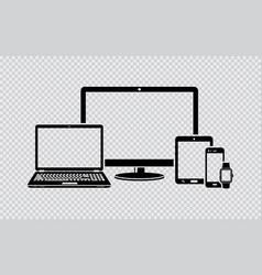 digital devices black icons vector image