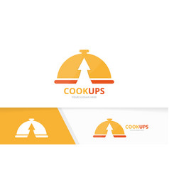 dish and arrow up logo combination plate vector image
