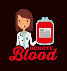 Doctor professional holding bag blood donate vector