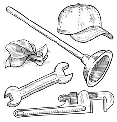 doodle plumber plunger wrench pipe hat vector image