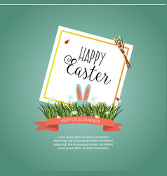 easter poster with rabbit eggs flowers vector image