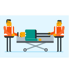 emergency doctors transporting man on stretcher vector image