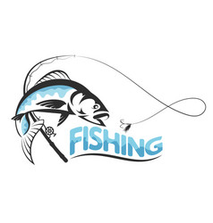 Fish jumping for bait silhouette vector