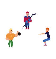 flat adult men doing exercise sports set vector image