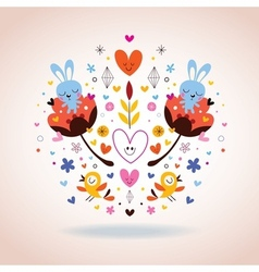 Flowers bunnies hearts birds vector