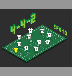 Football 4-4-2 formation with isometric field vector