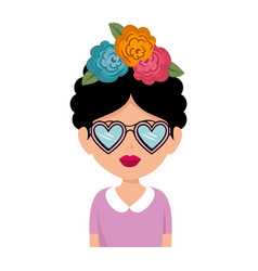 Frida kahlo with hearts glasses character vector
