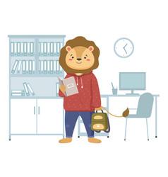 Funny cartoon animal student a lion schoolboy vector