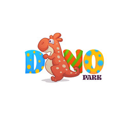 funny cartoon badinosaur and bright lettering vector image