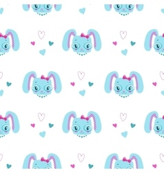 funny girlish seamless pattern with cute bunny vector image