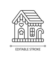 Gingerbread house linear icon vector