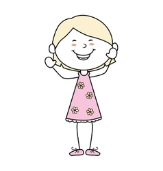 girl cartoon kid happy isolated design vector image
