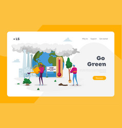 Global warming environment pollution landing page vector